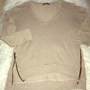Sweaters - Beige V-Neck Shirt with Side Zippers(NWOT)